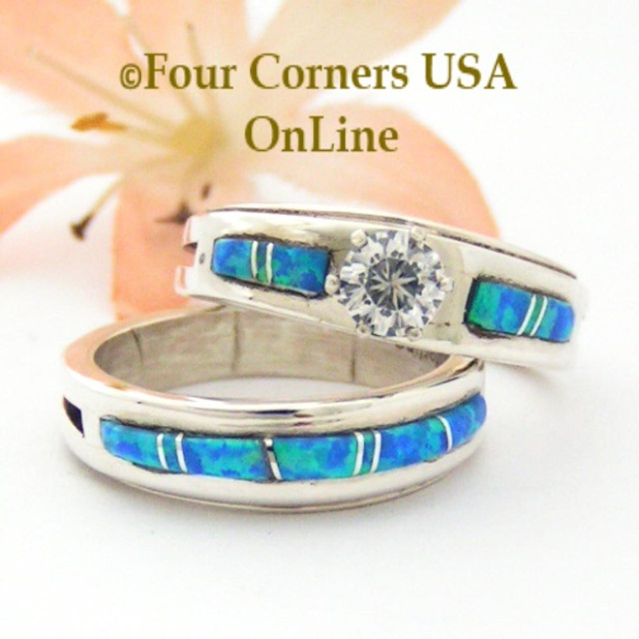 Size 7 1/2 Engagement Bridal Wedding Ring Set Blue Fire