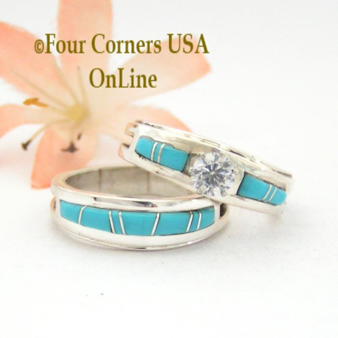 Size 8 1/2 Turquoise Engagement Bridal Wedding Ring Set