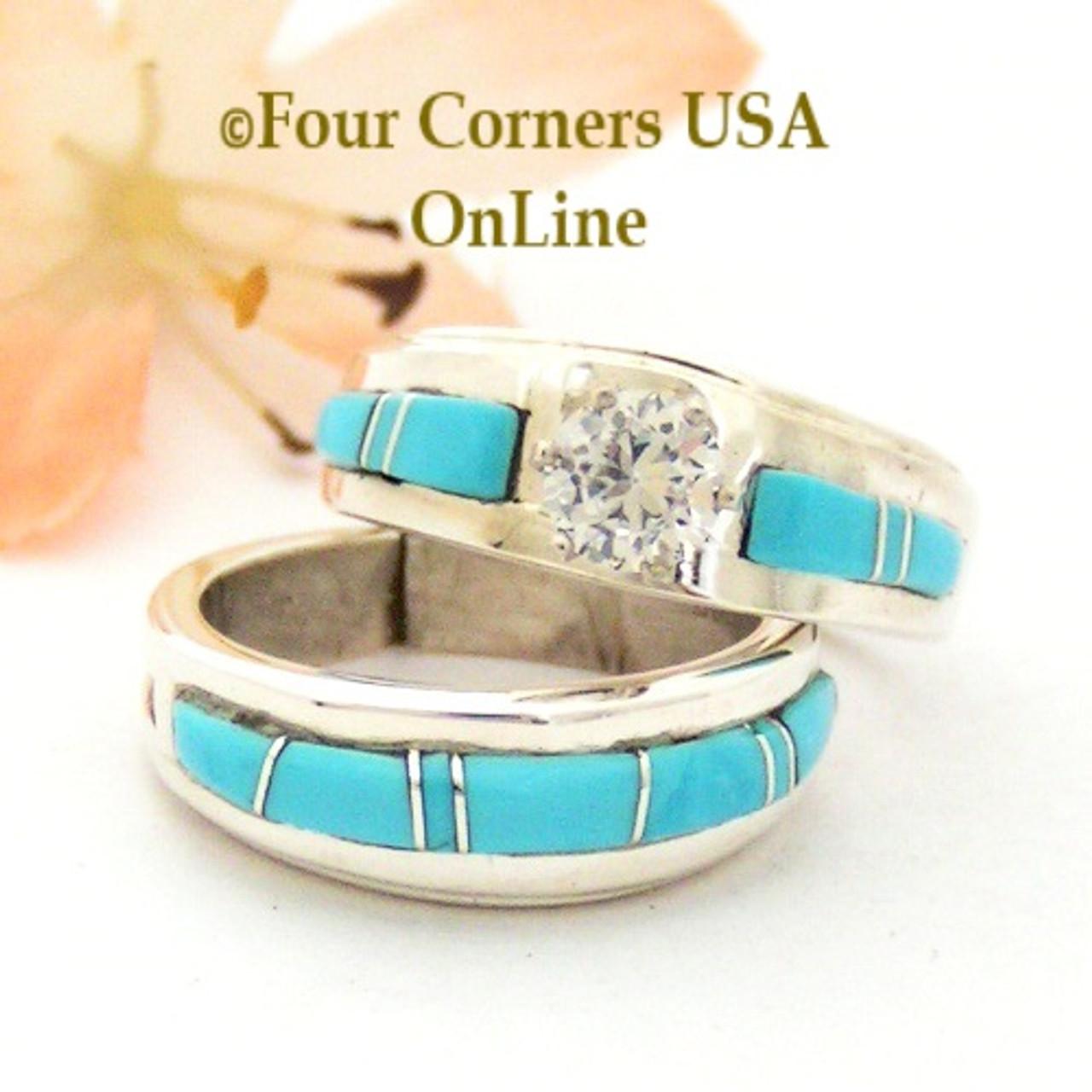 Size 5 1/2 Turquoise Engagement Bridal Wedding Ring Set