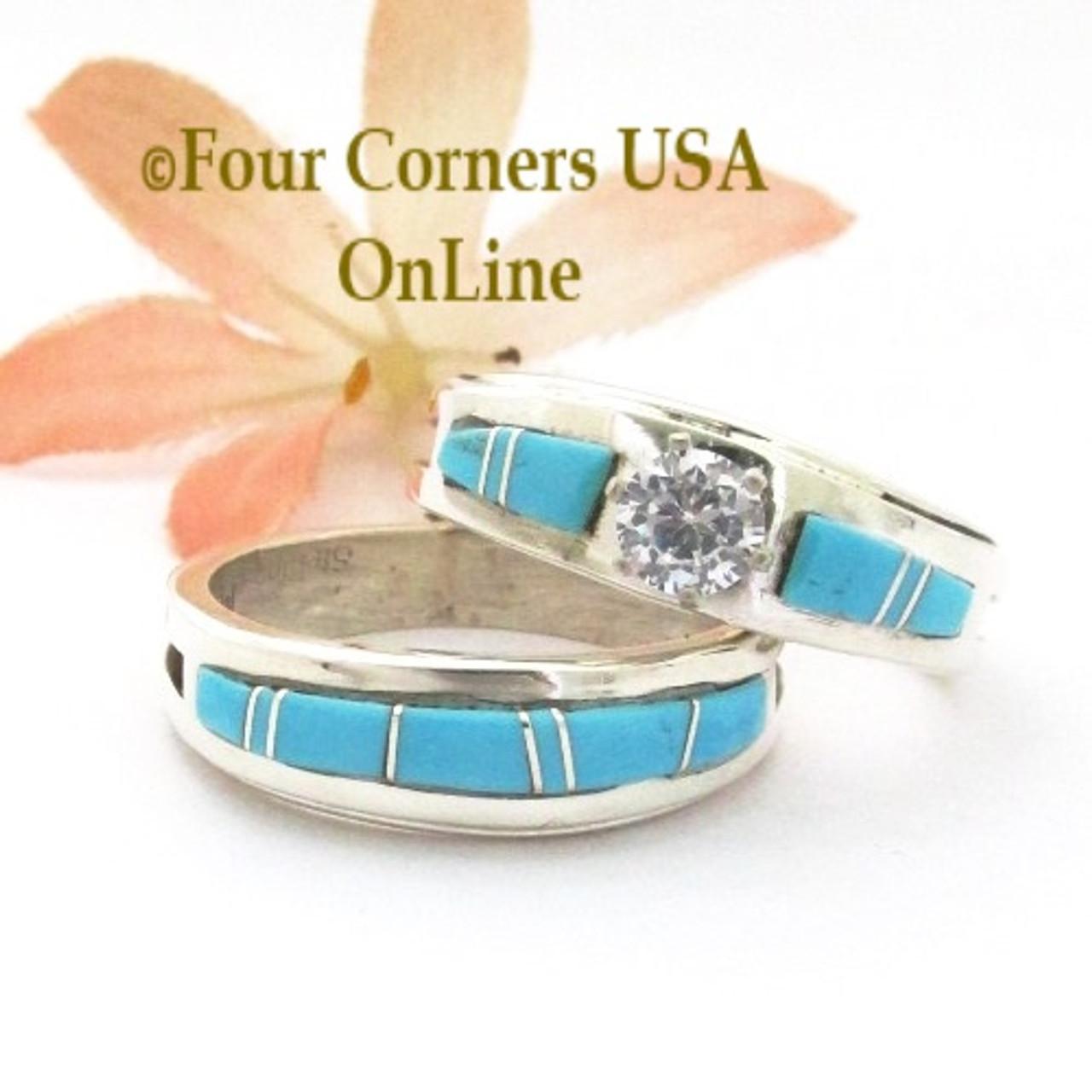 Size 10 Turquoise Engagement Bridal Wedding Ring Set