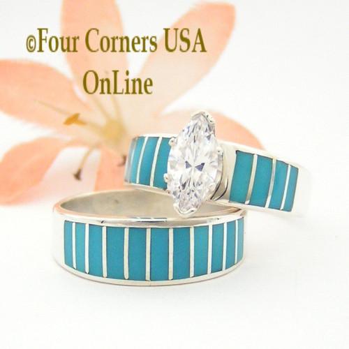 Turquoise Inlay Wedding Ring Sets