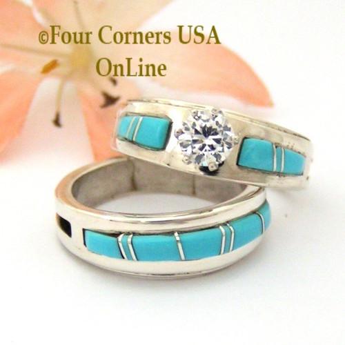 Size 6 1/2 Turquoise Engagement Bridal Wedding Ring Set