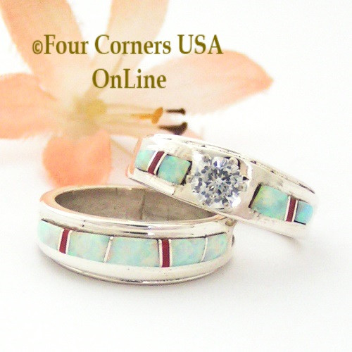 White Opal Inlay Engagement Ring Sets