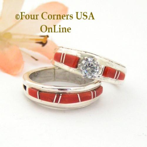 Size 7 Red Coral Engagement Bridal Wedding Ring Set Navajo