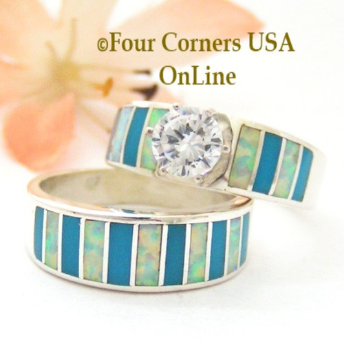 Size 7 1/2 Turquoise Inlay Opal Wedding Engagement Ring