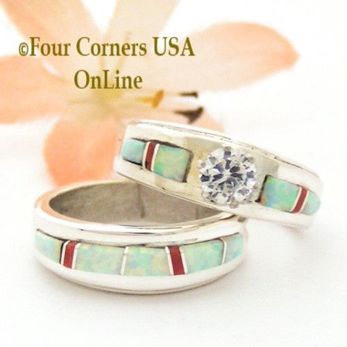 Size 6 1/2 White Fire Opal And Coral Engagement Bridal