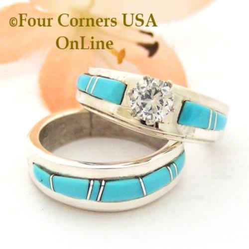 Size 5 Turquoise Engagement Bridal Wedding Ring Set Native