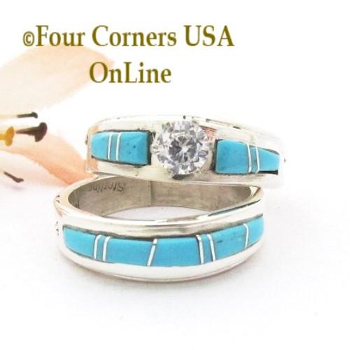Size 8 Turquoise Engagement Bridal Wedding Ring Set Navajo