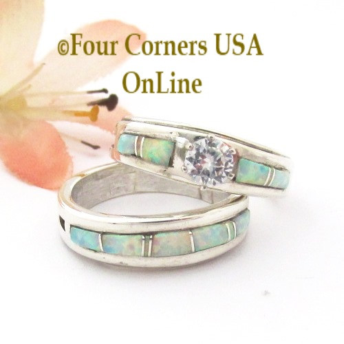 Size 8 White Fire Opal Bridal Engagement Ring Set Navajo