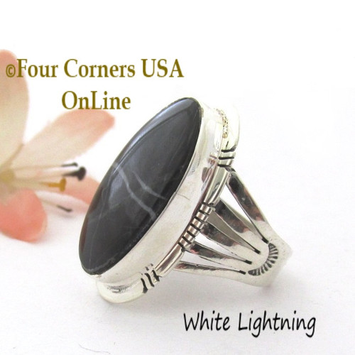 Size 8 1 4 White Lightning Ring Navajo Phillip Sanchez Nar