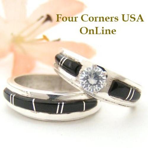 Size 7 1/2 Black Jet Engagement Bridal Wedding Ring Set