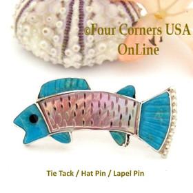 Inlay Fish Tie Tack Lapel Hat Pin Zuni Pueblo Sterling