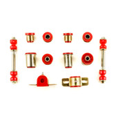1966-1970 Oldsmobile 442 Cutlass Red Polyurethane New Front End Suspension Bushing Set with Round Control Arm Bushings