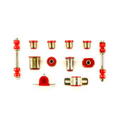 1966-1970 Oldsmobile 442 Cutlass Red Polyurethane New Front End Suspension Bushing Set with Oval Control Arm Bushings