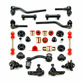 1962-1967 Chevrolet Chevy II Nova Red Polyurethane Front End Suspension Master Rebuild Kit with Idler Arm