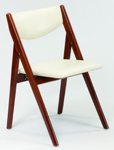 """This folding chair is a modification on the tried and true A-Frame folding chair. With solid hardwood legs and supports this chair has a padded vinyl back and seat. The folding mechanism is made from steel to provide years of use.  Model / SKU: 970V Dimensions: 31.75""""High / 18.75""""Wide / 22"""" Deep open / Folded depth 5.75"""" / Seat Height 18.75"""""""