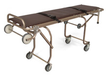 """Cot is built of sturdy anodized aluminum tubing that will not oxidize and will keep looking like new for years.                 Features:  • Reinforced Legs • Legs lock automatically when unloading • One person can load and unload • Multiple level adjustment for bed to cot transfer • Locking swivel wheel • Comes with heat sealed mattress and two   restraint straps       DIMENSIONS: 78"""" L x 25"""" W; Height: Minimum: 10""""; Maximum: 32-1/2"""" Weight: 80lbs. LOAD CAPACITY: 900 lbs."""