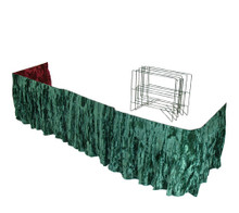 """Doudrape  Doudrape (2-sided) complete with frame. In your choice of colors. Five fold metal wire frame holds drape in position. Special corner hinges allows you to fit any casket corner. Snug fit every time. Fits front and two sides of casket.  Measurements: 22"""" H x 132"""" L"""