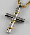 STAINLESS CROSS WITH GOLD RIBBON