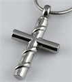 STAINLESS STEEL CROSS WITH SILVER RIBBON
