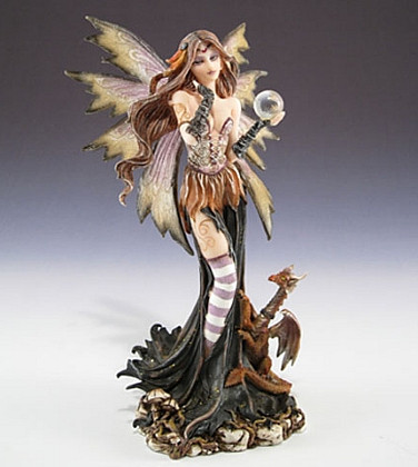 Fairy with crystal ball and dragon