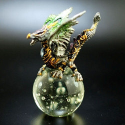 Pewter Dragon on Crystal Green