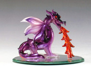 Spun Glass Dragon flame on oval mirror base