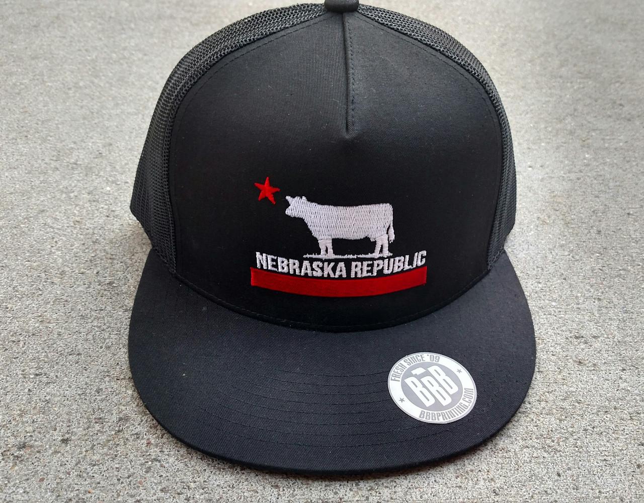 bc4bd9e11ef Nebraska Republic flatbill full black red white - bbbprinting.com