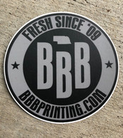 "Triple B Logo 3"" round vinyl sticker"