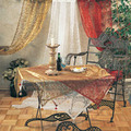 "36"" Flocked Organza Tablecloth with Decorative Acrylic Ball"
