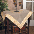 """36"""" Embroidered Sheer Tablecloth with Satin Border and Tassels"""