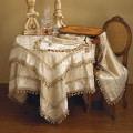 "108"" Elegant Damask Jacquard Runner with Onion Ball Trim"