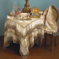 "108"" Elegant Damask Jacquard Runner with Boullion Fringe"