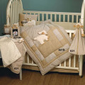 Gingham Baby Crib Set with Plush Chenille Lamb