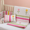 Gingham , Stripe and Flower Applqué Quilted Crib Set