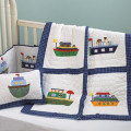 Plaid Quilted Baby Boy Crib set with Assorted Appliqué Boats