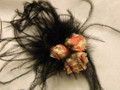 Black Feather Puff with Pink Roses