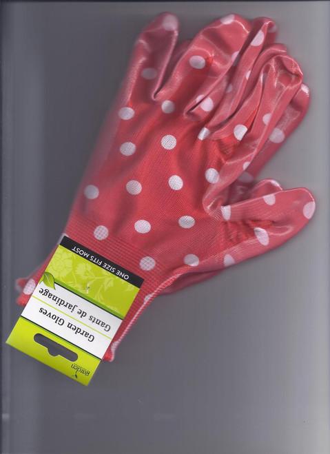 Garden Gloves- Red Background W/ White Dot