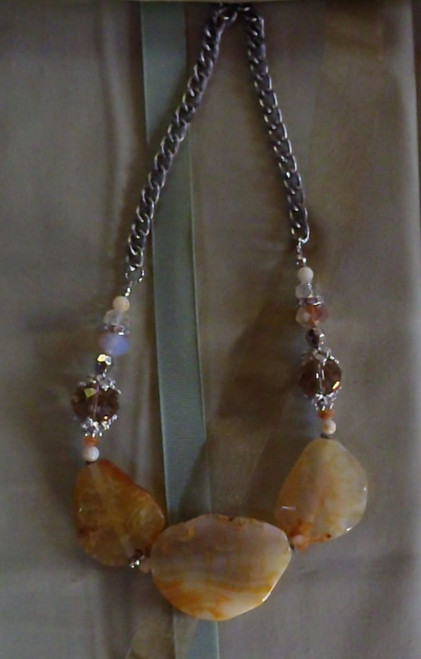 Necklace- Yellow Stones & Crystals w/ silver chain.