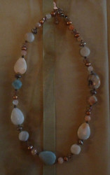 Necklace- Blue Stones, w/ Silver & Crystal Beads