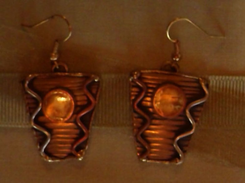 Earrings-Bronze Metal & Yellow Stones
