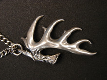 "12 Point Whitetail shed ,  Large .. 2"" long  cast in Argentium silver"