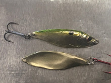 "1.75""- 1/6 Oz.  Gizzard Shad. Great for both pOpen water and ice. Solid bronze corrosion proof"