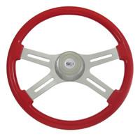 "Steering Wheel 4 Spoke 18"" Viper Red (Requires 3 Hole Hub)"