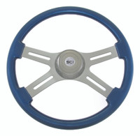 "Steering Wheel 4 Spoke 18"" Blue (Requires 3 Hole Hub)"