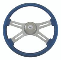 """Steering Wheel 4 Spoke 18"""" Blue (Requires 3 Hole Hub)"""