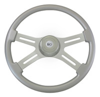 "Steering Wheel 4 Spoke 18"" Classic Silver (Requires 3 Hole Hub)"