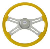 "Steering Wheel 4 Spoke 18"" Yellow (Requires 3 Hole Hub)"