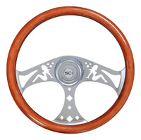 "Steering Wheel 18"" Mahogany ""Mud Flap Girl"" (Requires 3 Hole Hub)"