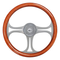"Steering Wheel 18"" Mahogany ""Saber"" (Requires 3 Hole Hub)"